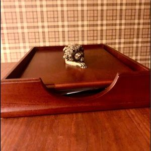 Paper Tray with lid mahogany wood brass lion